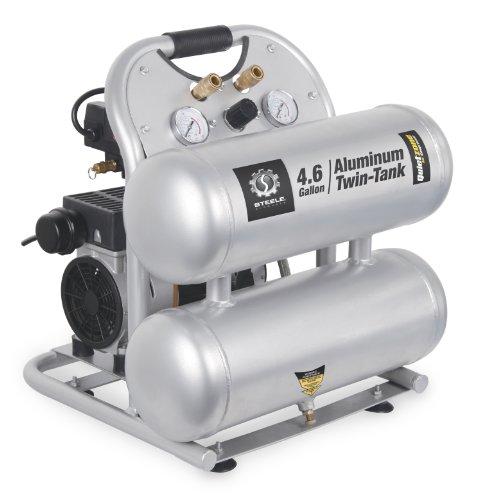 Steele Products SP-CE155QT 4.6 Gallon Aluminum Twin-Tank Quiet Air Compressor