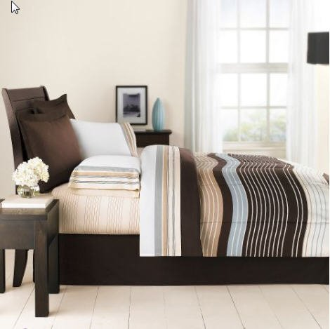 Brown & Blue Urban Striped Boys Full Comforter Set (8 Piece Bed In A Bag) front-442011