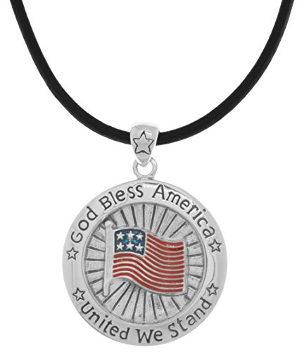 CGC Silver Plated Bronze God Bless America USA Flag Pendant on 24 Inch Black Leather Necklace
