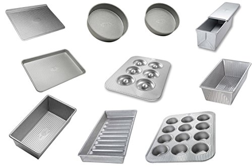 USA Pan Bakeware Aluminized 12 Piece Set, Muffin, Cake, Cookie, Jelly Roll, Loaf, Bun, Donut Pan (Usa Pans Pullman compare prices)