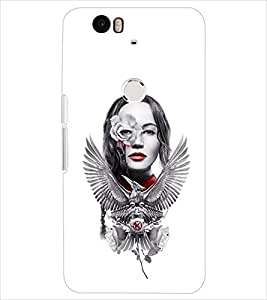 PrintDhaba FEATHER GIRL D-7059 Back Case Cover for HUAWEI NEXUS 6P (Multi-Coloured)