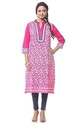 Lyla Cotton Pink Kurti for Women(Size-Small)