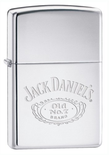 Original Polished Chrome Zippo Lighter with Engraved Jack Daniels 'No7' motiff