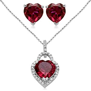 Sterling Silver Heart Created Ruby and Diamond Ring, Pendant Necklace, Earrings Box Set, Size 7