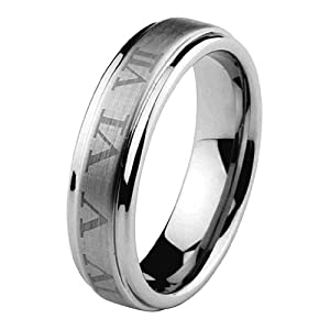 6mm Rounded Edge Cobalt Free Tungsten Carbide Roman Number COMFORT-FIT Wedding Band Ring for Men and Women (Size 5 to 15) - Size 5