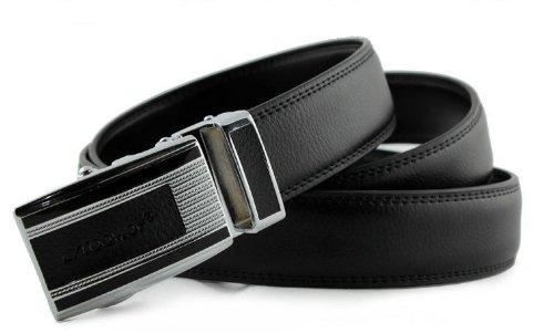 CA Men's Cowskin Alloy Reversible Automatic Buckle Belt Color Black Size Medium