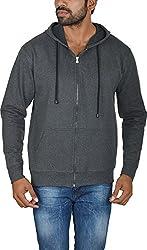Le Beau Classics Men's Cotton Zipper Hoodies GR_011_ Charcoal Grey_M