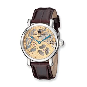 Stnlss Stl Brown Strap Skeleton Mechanical Watch by Charles Hubert Paris Watches, Best Quality Free Gift Box Satisfaction Guaranteed