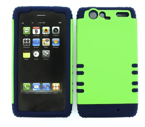 Shockproof Hybrid Cell Phone Cover Protector Faceplate Hard Case And Dark Blue Skin With Mini Stylus Pen. Kool Kase Rocker For Motorola Droid Razr Xt912 Neon Lime Green Db-A006-Pd