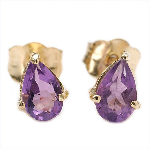 Jewelry-Schmidt-Earrings Amethyst drops (0.44 carats) in the Pear - 10 carat yellow gold (416 stainless)