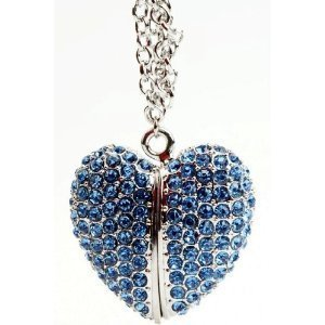 High Quality 32 GB Heart Shape Crystal Jewelry USB Flash Memory Drive Necklace from T &  J