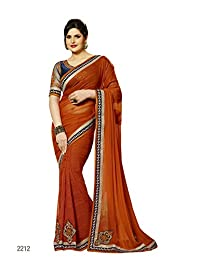 Aarti Latest Fashionable Party Wear Fancy Saree Bridal Embroidery Saree Wedding Wear Free Size - B00XA08AQS