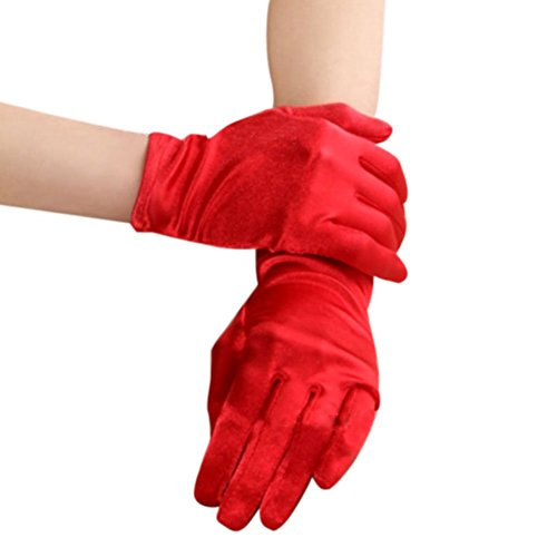 Women Bridal Shiny Stretch Satin Short Wrist Gloves for Wedding Prom Evening Party Red
