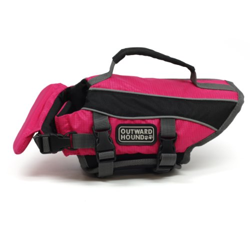 Kyjen 2527 Dog Life Jacket Quick Release Easy-Fit Adjustable Dog Life Preserver, Extra Small, Pink