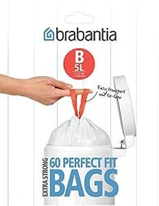 Brabantia Smartfix Bin Liners, Size B, 5 L - 60 Bags