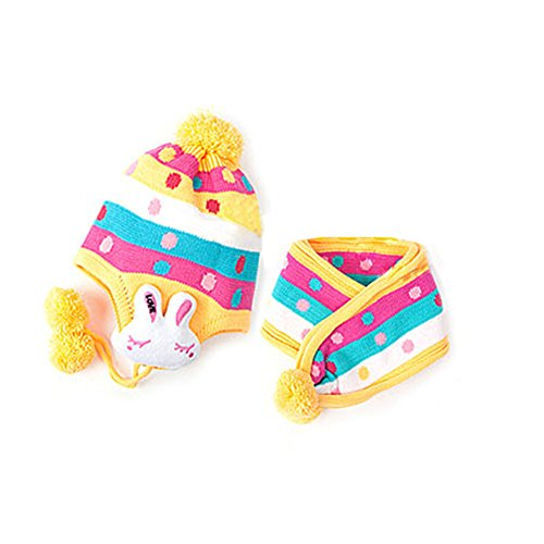 veroda Cute Baby Warm mit Ohrenklappen Bunny Ohrenschützer Beanie Hat Cap + Schal Set Gr. Einheitsgröße, Gelb - Gelb
