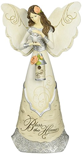 Elements Bless This Home Angel Figurine by Pavilion, 12-Inch, Holding Bird and Birdhouse, Reads Bless This Home