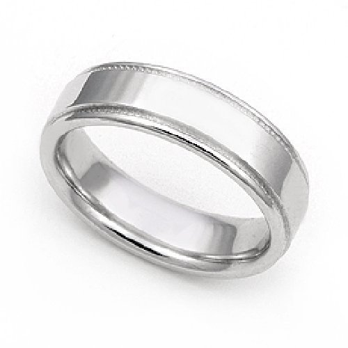 14k White Gold 5mm Milgrain Wedding Band Ring