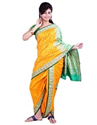 ISHIN 8 Meter Ready to wear Navari Polly silk Yellow Saree - B00LL6K3B8
