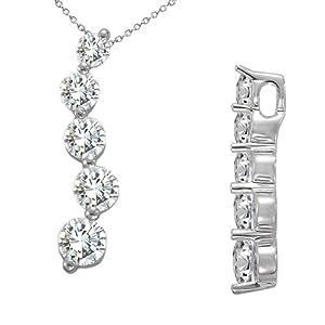 1 Carat White Round Diamond 5 Stone Journey Pendant 18