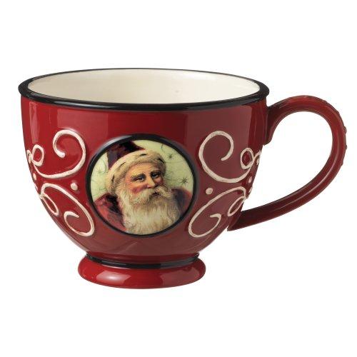 Grasslands Road Old World Santa Ceramic Teacup, 3-Inch, Red