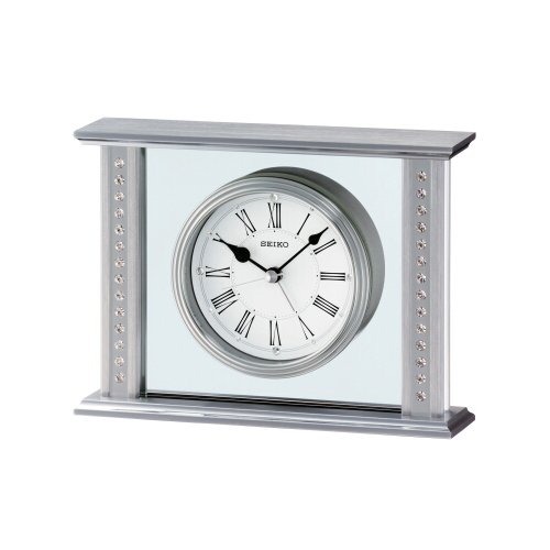 Seiko QHE048S Silver Mantel Clock with Swarovski Crystals