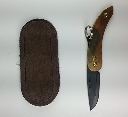 "Svord PKMC Peasant Micro Folding Knife 1.875"" Carbon Steel Blade, Brass Handles - SVORD-PKMC-BRASS"