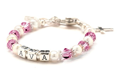 Children'S Crystal & Cultured Freshwater Pearl Name Bracelet - October Pink Birth Month front-222096
