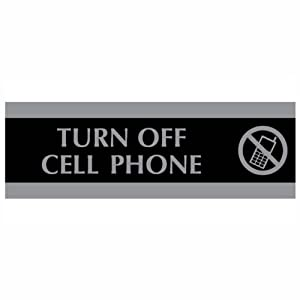 U.S. Stamp & Sign HeadLine Century Series 3x9 Inch Turn Off Cell Phone Sign, Black and Silver, 4759