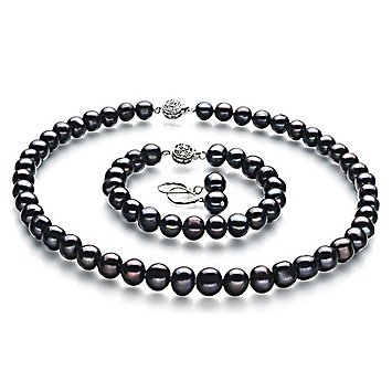 PearlsOnly Kaitlyn Black 8-9mm A Cultured Freshwater Pearl Set
