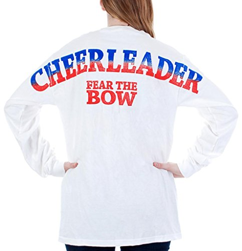 [Adult Cheerleader Fear The Bow Stadium Jersey T Shirt White XL] (Adult Cheerleader Outfits)