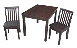 International Concepts 3-Piece 2532 Table with 2 Mission Juvenile Chairs, Rich Mocha Finish