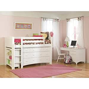Cottage Low Loft Bed in White with Essex Accessories Configuration: Low Loft Bed with 5 Drawer Dresser and 2 Bookcases