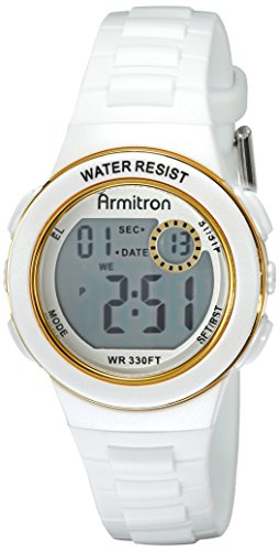 Armitron Sport Women's 45/7046WHT Gold Tone-Accented Digital Chronograph Watch