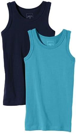 NAME IT Jungen Unterhemd VIMON KIDS UNDERWEAR TOP, 2er Pack, Einfarbig, Gr. 110 (Herstellergröße: 110/116), Blau (Dress Blues)