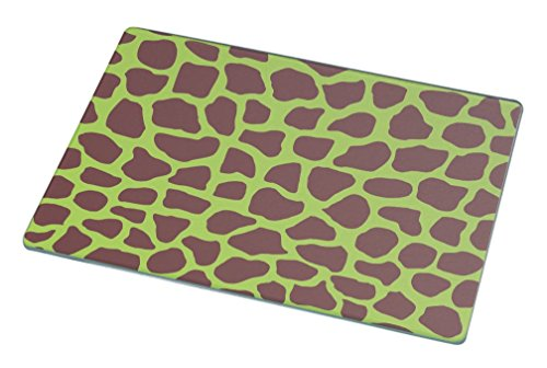 Rikki Knight RK-LGCB-351 Giraffe Design on Lime Green Glass Cutting Board, Large, White