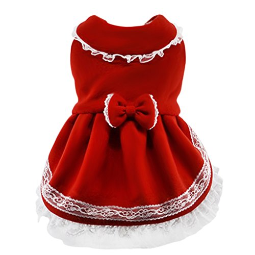 Christmas Dress Costume, Pet Puppy Dog Cute Bowknot Winter Warm Jacket Lace Tutu Skirt Small Teddy Dog Polar Fleece Pet Coat Cold Weather Sweater Clothes Outfit Apparel (M, Red)