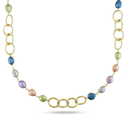 Brass Multi-colored Pearl Link Necklace (7-10 mm)