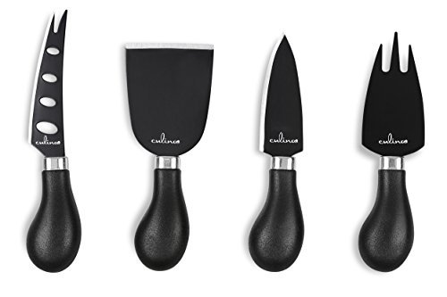 Culina Cheese Knife Set of 4. Stainless Steel with Black Finish. Nonstick
