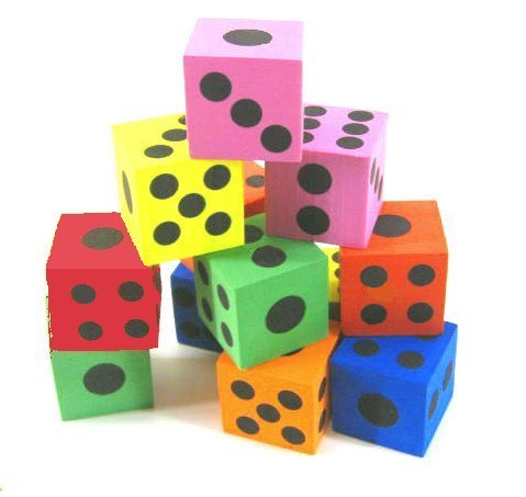 "1 Dozen 1 1/2"" Foam Dice"