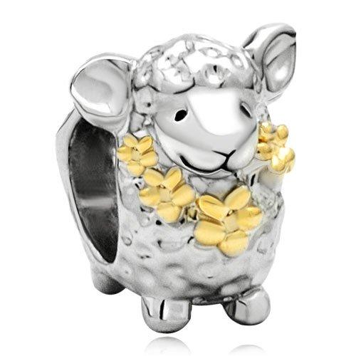 Mothers Day Gifts 22k Gold Plated Cute Sheep Animal Bead Charm Fits Pandora Chamilia Biagi Charm Bracelet