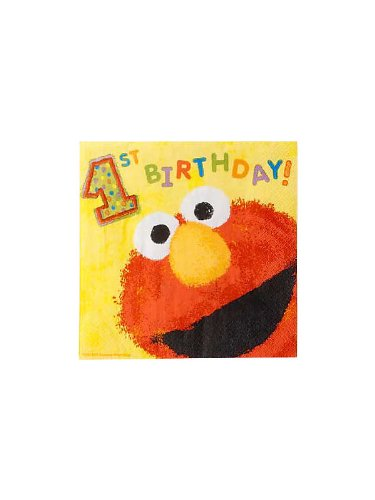 Amscan Unisex Adult Elmo's 1st - Lunch Napkins Black Medium - 1