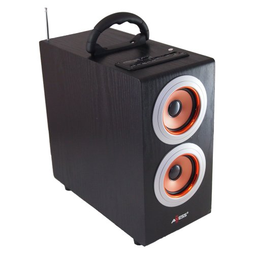 Axess Sp1003-Gl Music Box Speaker With Subwoofer, Includes Fm Stereo, Sd/Usb/Line-In Inputs(Gold)