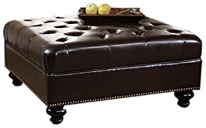 Abbyson Living Soho Tufted Square Nailhead Trim Ottoman