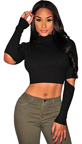 PEGGYNCO Womens Black Ribbed Knit Cut Out Sleeves Crop Top One Size