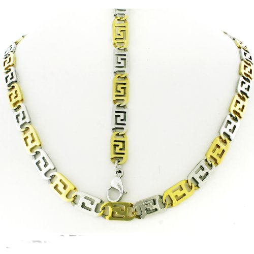 Mens Two Tone Stainless Steel Link Chain Necklace With 8.5