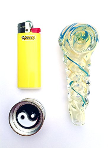 Cool-420-Products-Original-Mini-Smokers-Travel-Kit-BLACK-N-BLUE-3-Charcoal-Frit-Incense-Burner-with-Medium-Blue-Bic-Mini-Lighter-and-Ying-Yang-IncenseHerb-Grinder