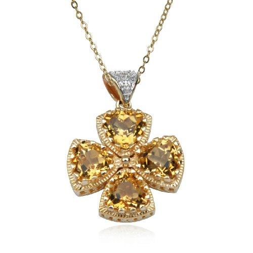 18k Yellow Gold Plated Sterling Silver Citrine 7mm and Diamond Accent Pendant Necklace , 18