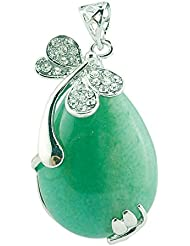Green Aventurine Pendant For Necklace Earring Making. Teardrop Natural Stone Charms Bohemian Style