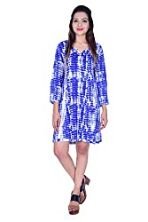 MSONS Women's Blue Shibori A-line V-Neck Short Dress in Rayon Fabric